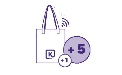 Récompense le fait de ré-utiliser un sac. Kenevi cumule les points à chaque ré-utilisation. Le client badge avec son sac équipé d'uen puce sans contact.